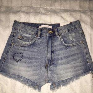 Zara Trafaluc Denimwear High Waist Shorts Size 2